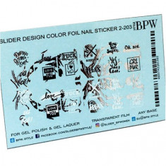 BPW.style, Слайдер-дизайн «Надписи с фольгой» №2-203, серебро