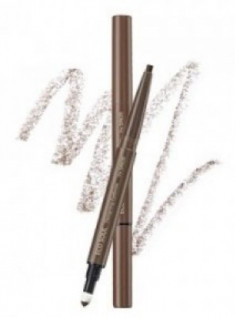Карандаш для бровей 3 в1 THE SAEM Eco Soul Designing Eyebrow 01 Brown 0,2г+0,12г