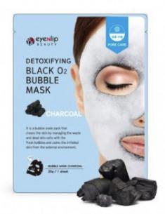 Маска тканевая кислородная EYENLIP Detoxifying Black O2 Bubble Mask Charcoal 20г