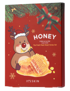 Новогодний набор тканевых масок с мёдом It's Skin The Fresh Mask Sheet Honey GLOBAL NEW YEAR 20г*5шт It'S SKIN